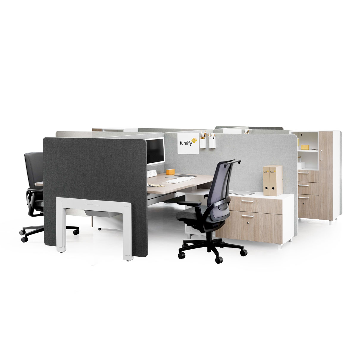 SetMe Bench Desk with Screens